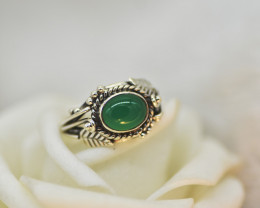 GREEN ONYX RING 925 STERLING SILVER NATURAL GEMSTONE JE2303