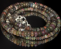 33 Crts Natural Ethiopian Welo Faceted Opal Beads Necklace 13