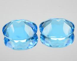 43.80 Cts Natural Swiss Blue  Topaz Cushion  Cut USA ~Set