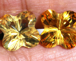 7.15 CTS NATURAL CITRINE FLOWER CARVING ( 2 PCS) CG-2685