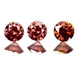 ~SET~ 0.066 Cts Natural Purplish Pink Diamond 3 Pcs Round Africa