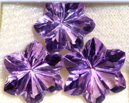 26.50 CTS AMETHYST FLOWER CARVING SET OF 3  CG-2690