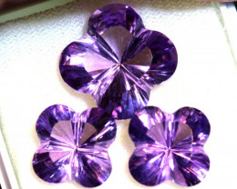 22.05 CTS AMETHYST FLOWER CARVING  SET OF 3  PCS CG-2693