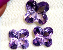 13.25 CTS AMETHYST FLOWER CARVING SET OF 3 PCS CG-2694