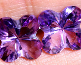 6.50 CTS AMETHYST FLOWER CARVING PAIR CG-2695