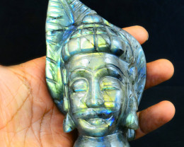 Genuine 1605.00 Cts Labradorite Hand Carved Buddha Head