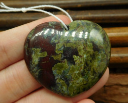 Heart shape dragon bloodstone pendant (G0970)