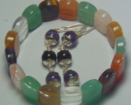 Beautiful  mix beads cabs Bracelet and earrings