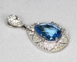 Blue Topaz 5.06g Sterling Silver 925 Pendant  A661
