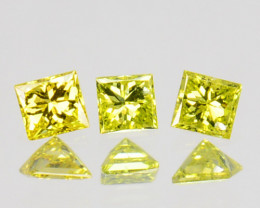 0.08 Cts Natural Diamond Golden Yellow 3 Pcs Princess Cut Africa
