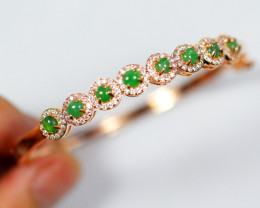 Natural Jadeite Jade Rose Gold Plated Bracelet