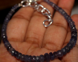 28 Crts Natural Faceted Tanzanite Beads Bracelet 14