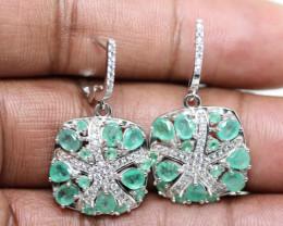 (B22) Fantastic 40.0tcw. Natural Brazilian Emerald CZ Earrings Untreated