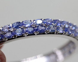Stunning Nat 120 tcw. Top Violet Blue Tanzanite  Bangle