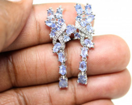 Stunning 41ct. Natural Tanzanite  CZ Earrings Untreated