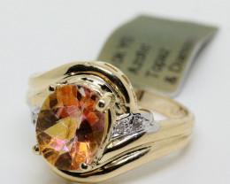 $1100 Nat. 3.16 cts Azotic Topaz & Diamond  Ring 10k YG 4.03