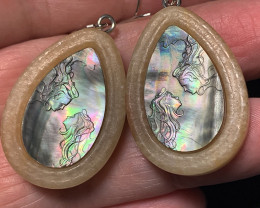 Carved Mother of Pearl  Earrings set into Carved Jasper