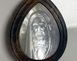 Mother of Pearl Jesus Carved Cameo Shell in Jasper 120.00cts