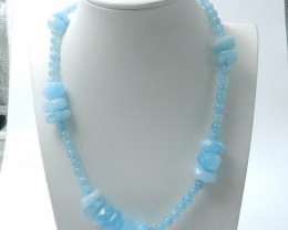 303cts Beautiful Aquamarine Necklace,6mm beads  Healing Stone,Best Gift D70