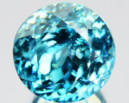 ~RADIANT~ 10.30 Cts Natural Sparkling Blue Zircon Round Cut Cambodia