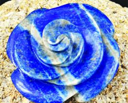 Genuine 200.00 Cts Blue Lapis Lazuli Carved Rose
