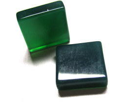 13.08tcw Green Chalcedony Matching Square Discs