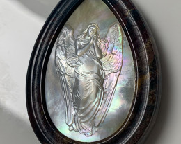 Mother of Pearl Angel Carved Cameo Shell in Jasper 120.00cts