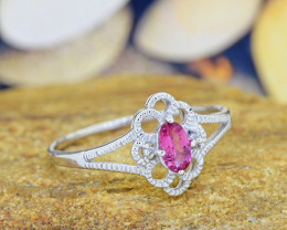 Natural Pink Tourmaline 925 Sterling Silver Ring (SSR0550)