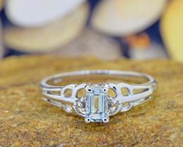 Natural Aquamarine 925 Sterling Silver Ring  (SSR0543)