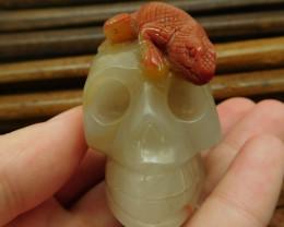 Agate carved lizard skull decoration (G0978)