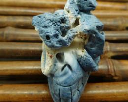 Blue coral fossil carved skull snake decoration (G0980)