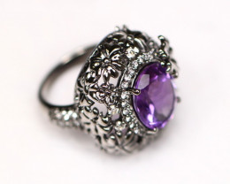 Amethyst 11.27g Sterling Silver 925 Ring A2906