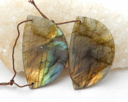 Natural Labradorite Drilled Earrings Bead, stone for earrings making D701