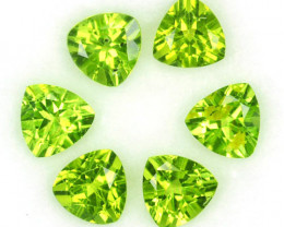 4.96 Cts Natural Parrot Green Peridot 6mm Trillion 6 Pcs Pakistan