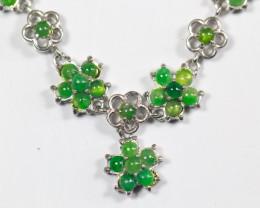 Natural Grade A Jadeite Jade & 925 Silver Necklace