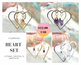 Four Lovers beautiful gemstone Heart shape earrings Set BR171