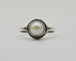 PEARL RING 925 STERLING SILVER NATURAL GEMSTONE JE2322