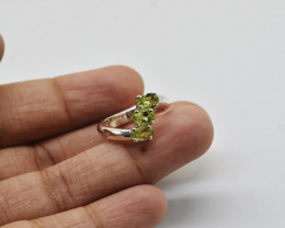 PERIDOT RING 925 STERLING SILVER NATURAL GEMSTONE JE2323