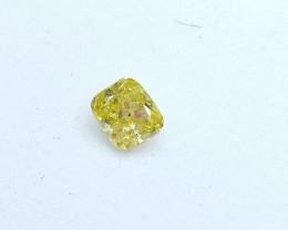 0.22ct Fancy Intense Green Yellow  Diamond , 100% Natural Untreated