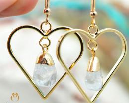 Tumbled beautiful Crystal gemstone Heart shape earrings BR 183