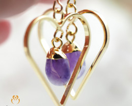 Tumbled beautiful Amethyst gemstone Heart shape earrings BR 195