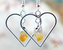 Terminated Point beautiful Citrine gemstone Heart shape earrings BR 199