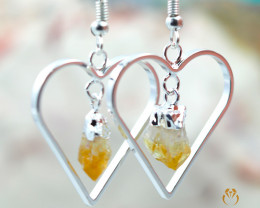 Terminated Point beautiful Citrine gemstone Heart shape earrings BR 200