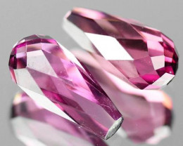 1.42 CTS NATURAL TOP PINK TOURMALINE BRIOLETTE PAIR MOZAMBIQUE