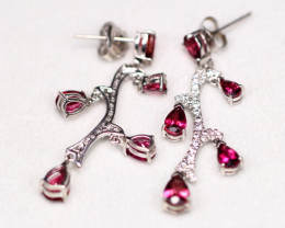 Rubellite 4.45g Sterling Silver 925 Earrings AF0117