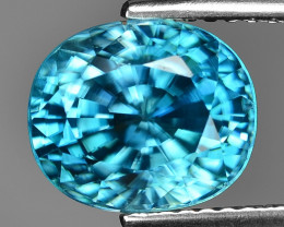 5.53 Blue Zircon Awesome Color and Luster Gemstone BR2