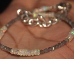 12 Crts Natural Opal & Labradorite Beads Bracelet 676