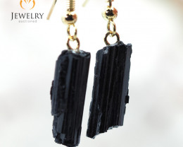 Spiritual black Tourmaline Pair Drop Earrings BR 203