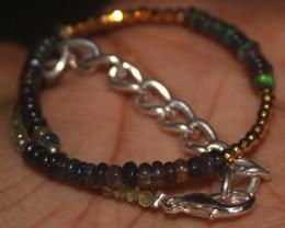 13 Crts Natural Smoked Opal, Pyrite & Peridot Beads Bracelet 646