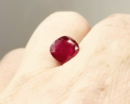 2.75 Ct CERTIFIED Faceted Cushion MADAGASCAR Bright Red Ruby Gemstone